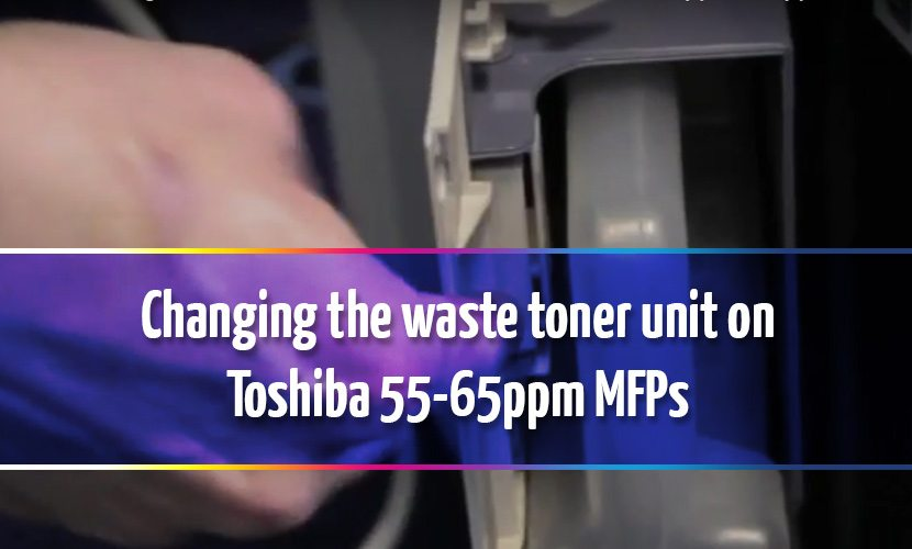 How to change the waste toner collection unit on Toshiba